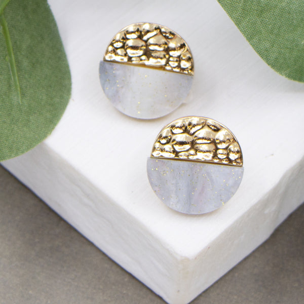 Soft hammered circle studs with grey marble resin