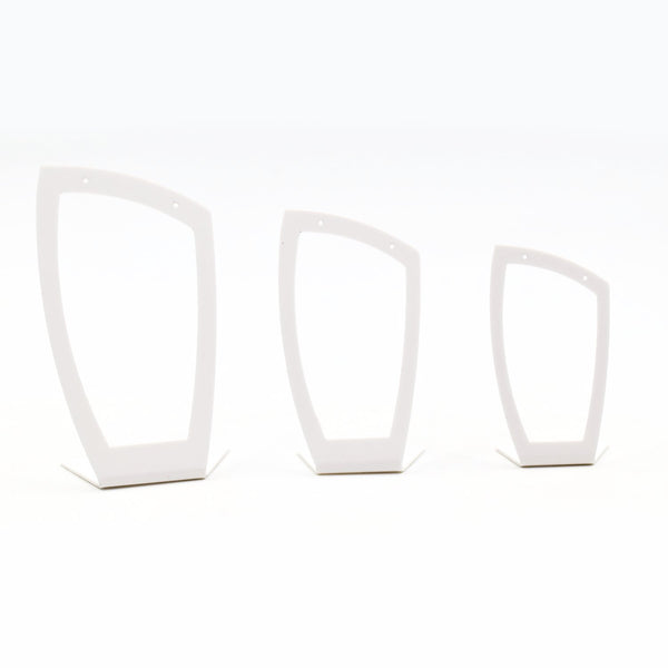 White Acrylic set of 3 free standing earring stands