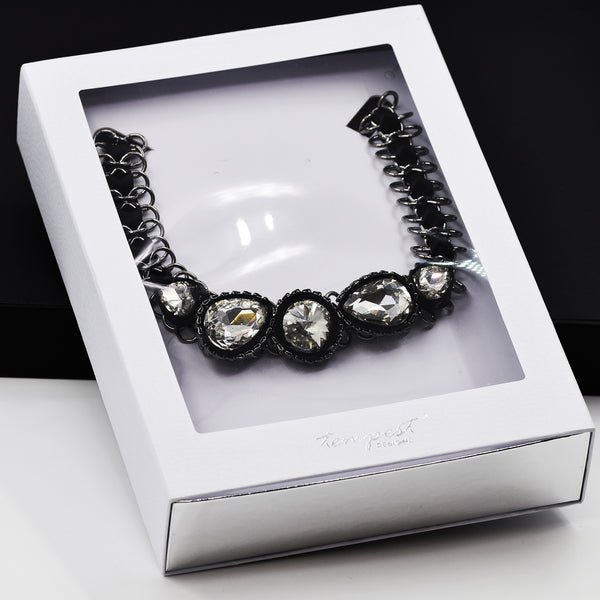Luxury snake skin effect necklace box  with acetate window