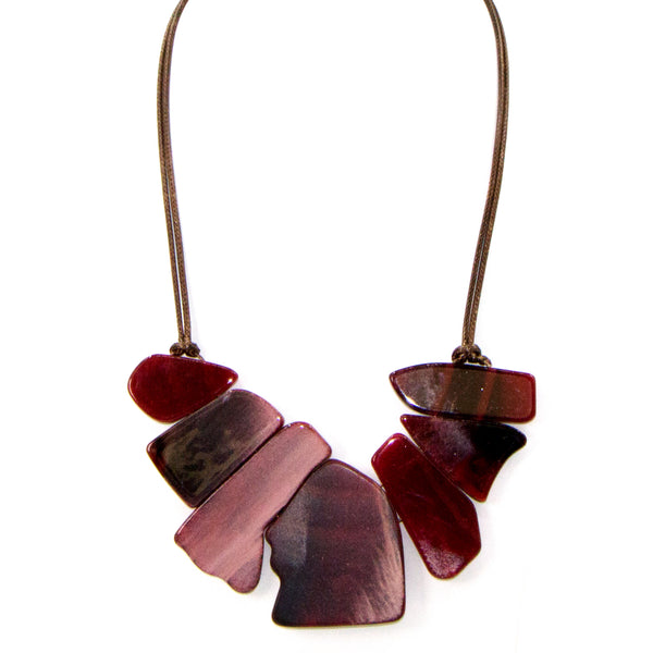 Organic shapes marble resin and integrated wood statement necklace