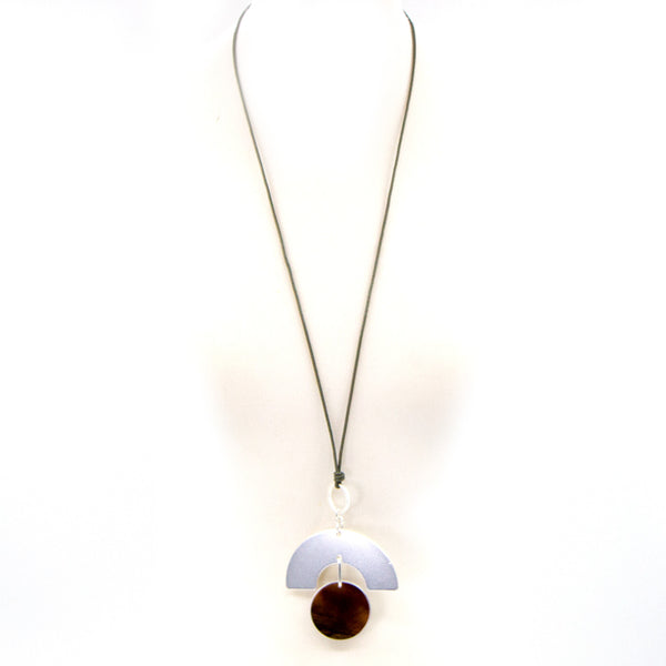 Contemporary long leather necklace with resin disc detail