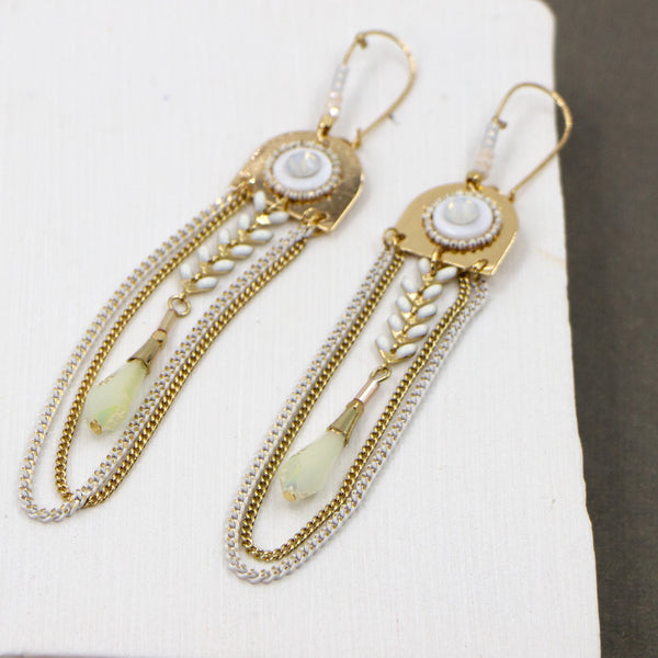 Plait, crystal and chain drop boho style earrings