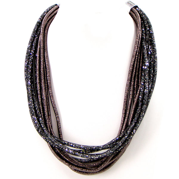 Multistrand fabric and crystal mesh necklace