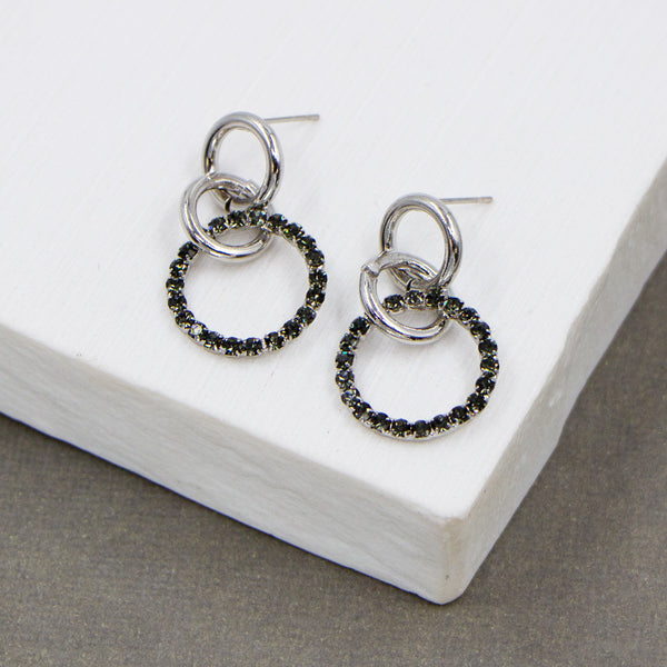 Little interlinked rings and crystal ring earrings