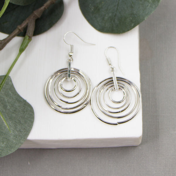 Multiple circles inside circles earrings on fish hook