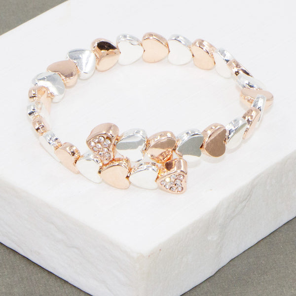 Memory wire bracelet with crystal heart ends
