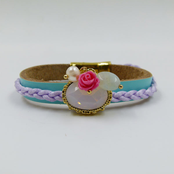 Leather bracelet with opal stone & charms