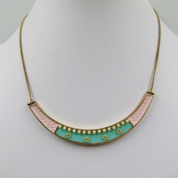 Boho style collar necklace on delicate snake chain