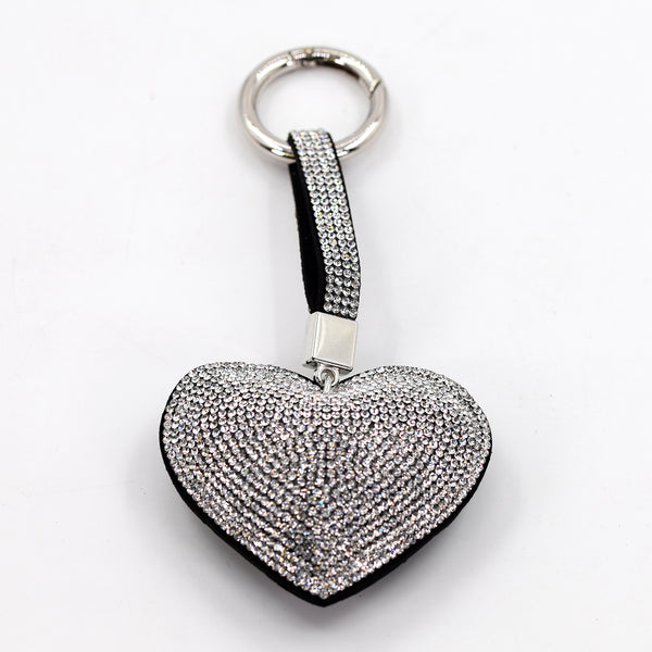 Crystal studded heart key ring