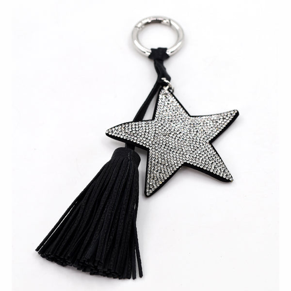 Crystal studded star and tassel key ring