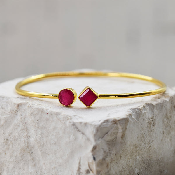 18ct Gold plated sterling silver bangle with dyed ruby stone