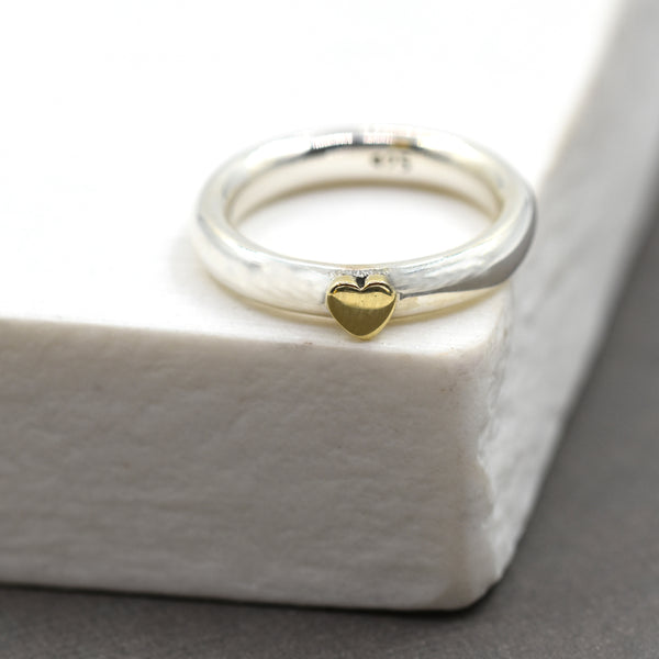 925 Silver ring with brass heart - Size 7