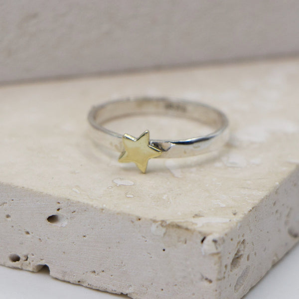 925 Silver soft hammered brass star motif stacking ring - Size 7