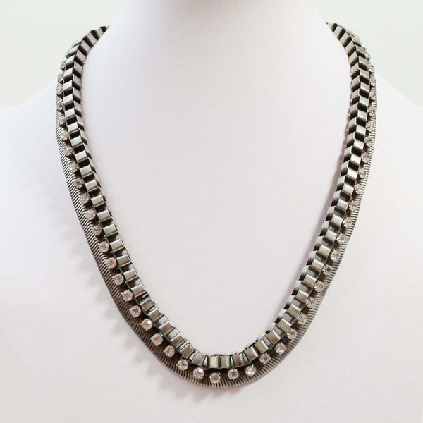 Statement chain collar necklace with diamante