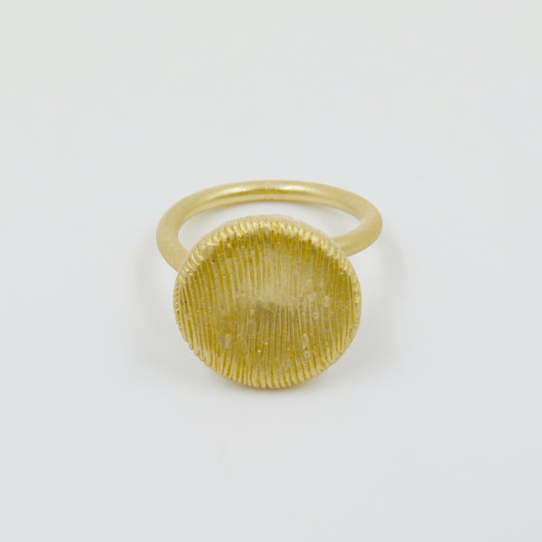 Delicate designer style scratch finish disc ring