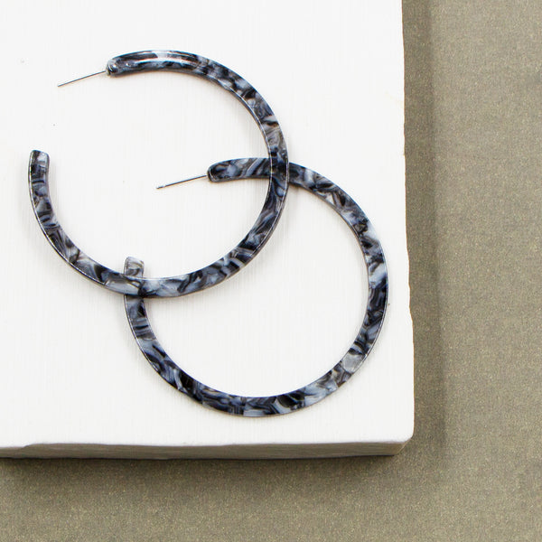 Grey marble resin flat and thin hoop earrings