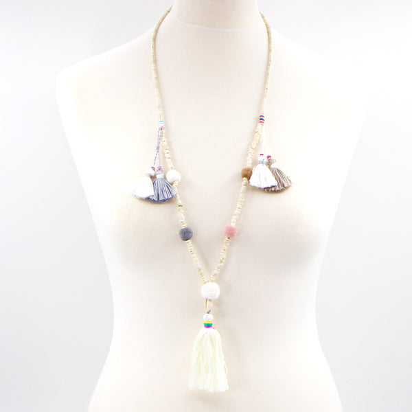 Natural beaded pom pom and tassle long necklace