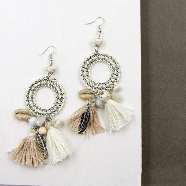 Natural hoop earrings with shell and tassel components