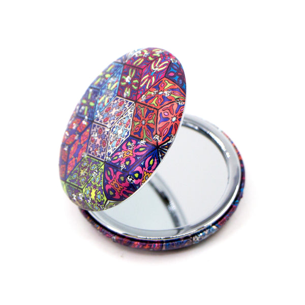 Diamond cube crystal inlay multicoloured design round compact mirror