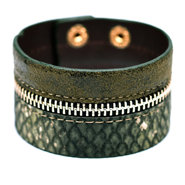 Cuff style bracelet with zip effect feature