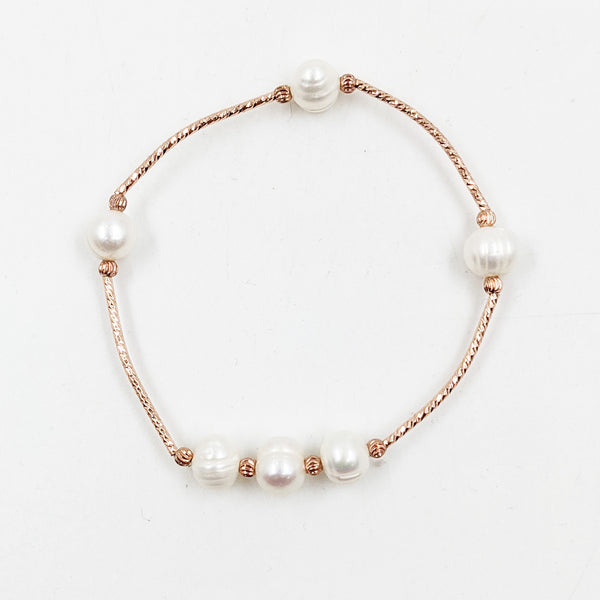 Rosegold bracelet with real pearls