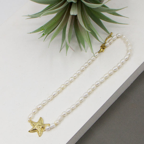 Real pearl beaded necklace with star fish pendant