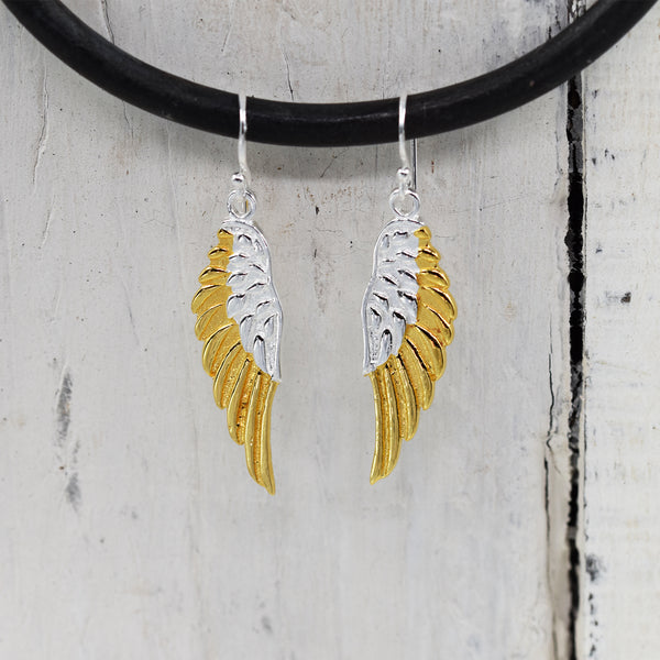 925 Silver angel wing drop earrings with gold plating