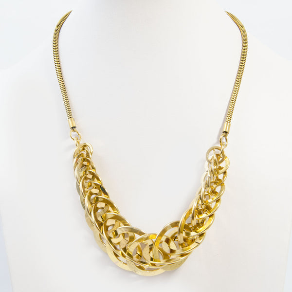Interlinked rings statement with snake chain necklace