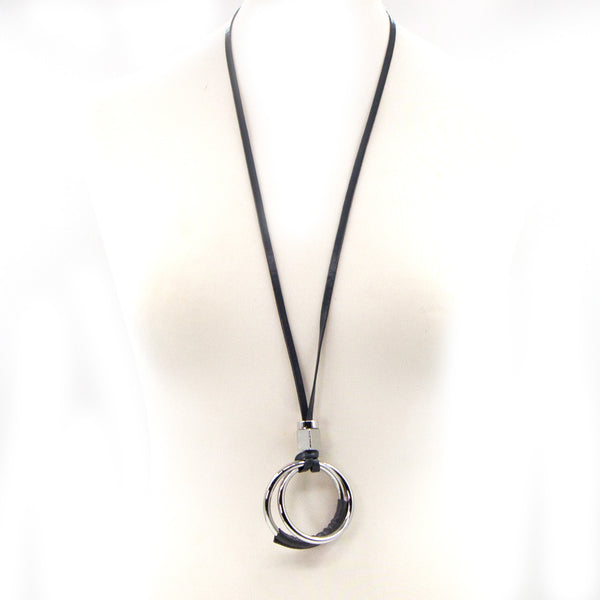 Long necklace with circle pendant and PU section detail