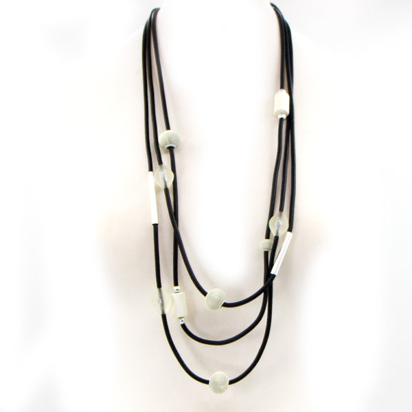 Multistrand neoprene statement necklace with bead accents
