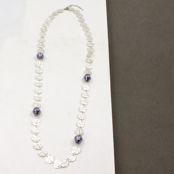 Long faux pearl and soft hammered disc statement necklace