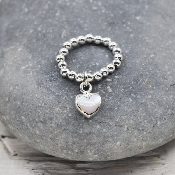 925 Sterling silver stretchy ring with turquoise heart