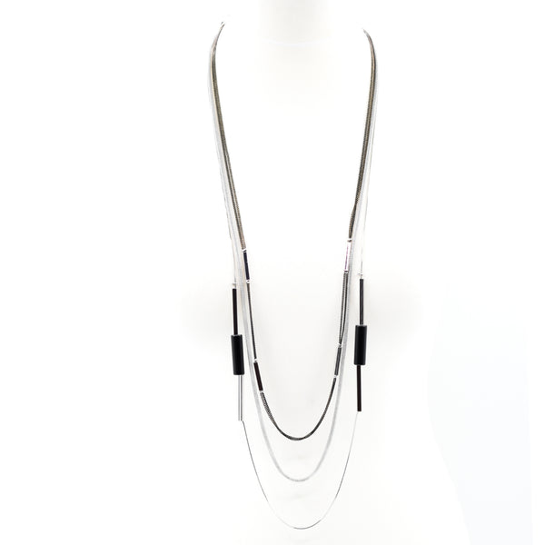 Real agate cylinder beads on contemporary long necklace