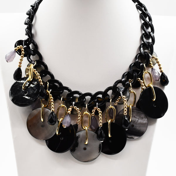 Statement shell and button necklace with gold components