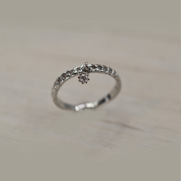 Delicate half rope ring with crystal drop