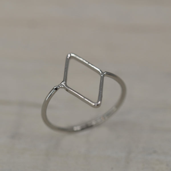 Rhodium simple open square ring