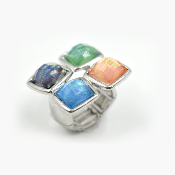 Statement iridescent four stone ring
