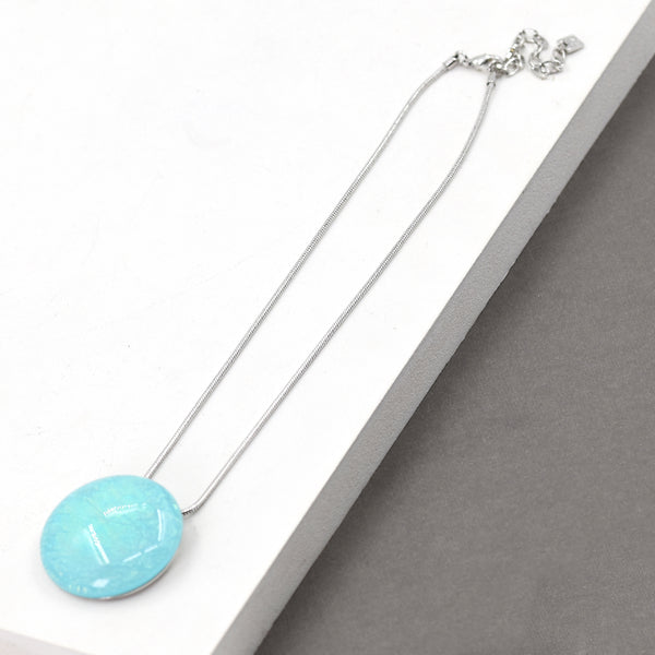 Aqua resin circle pendant necklace 41cm