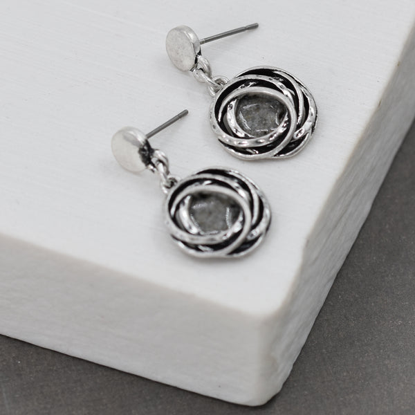 Rose like fish hook earrings with grey resin center