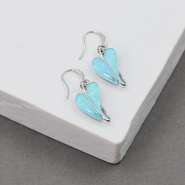 Elongated heart shape on fish hook earrings