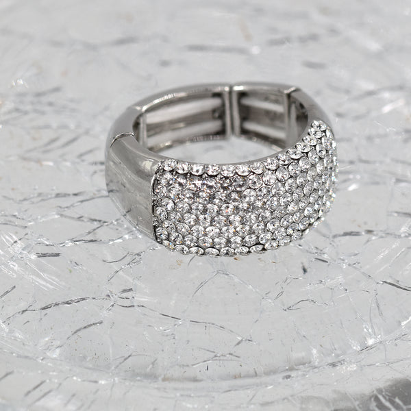 Crystal encrusted stretchy ring