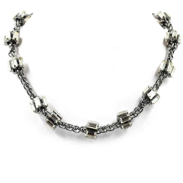 Pewter colour chain link short necklace with crystals
