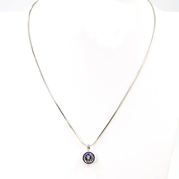 Simple single crystal on snake chain necklace