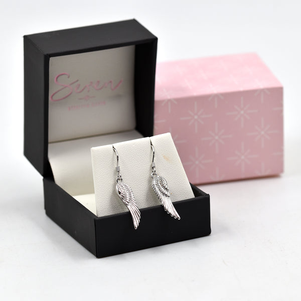 Angel wing motif earrings on fish hook
