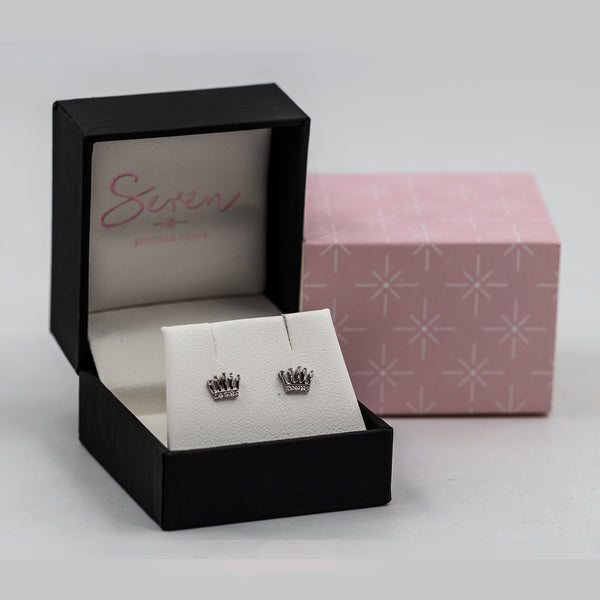 Crown stud earrings with CZ crystals