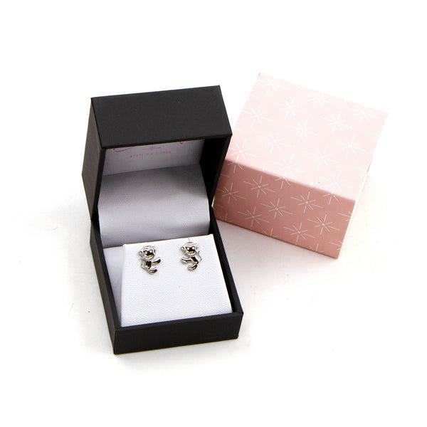 925 silver little climbing monkey stud earrings
