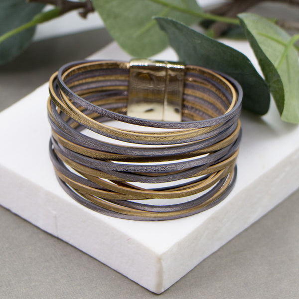 Multi strand simple metallic PU cuff