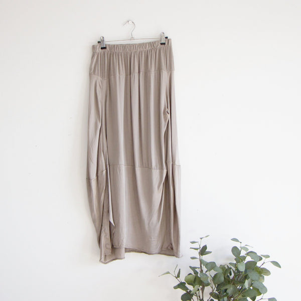 Satin jersey panel skirt stretchy waste band