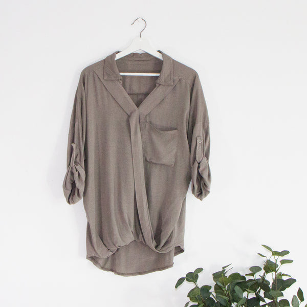 Lightweight casual shirt with crossover v neck and pouch pocket