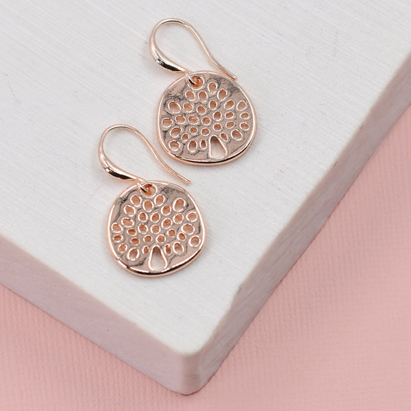 Tree of life symble discs on fish hook earrings